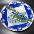 アカメアマガエル象嵌皿・陶土、顔料、釉・2009